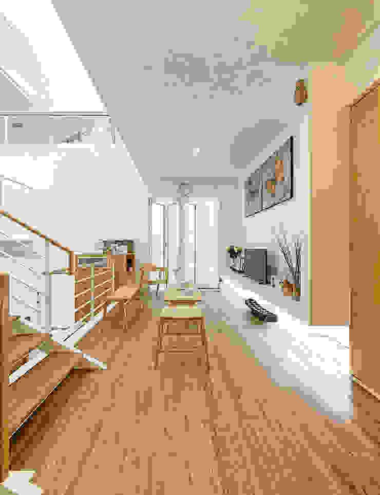 Đồ nội thất thông minh được tận dụng để tiết kiệm diện tích. Hành lang, sảnh & cầu thang phong cách châu Á bởi Công ty TNHH TK XD Song Phát Châu Á Đồng / Đồng / Đồng thau