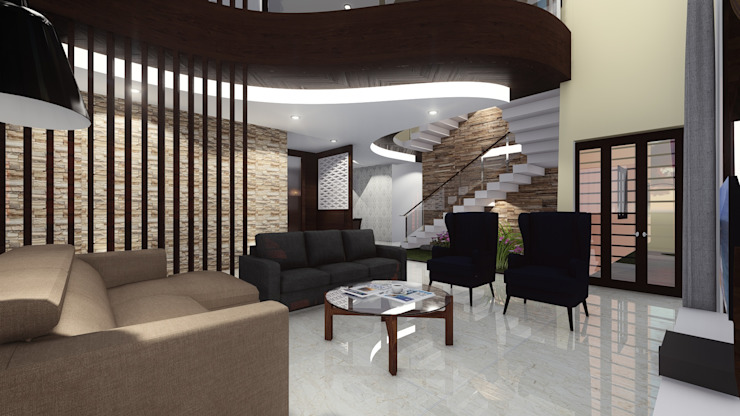 Living Room: asian  by Cfolios Design And Construction Solutions Pvt Ltd,Asian Wood Wood effect
