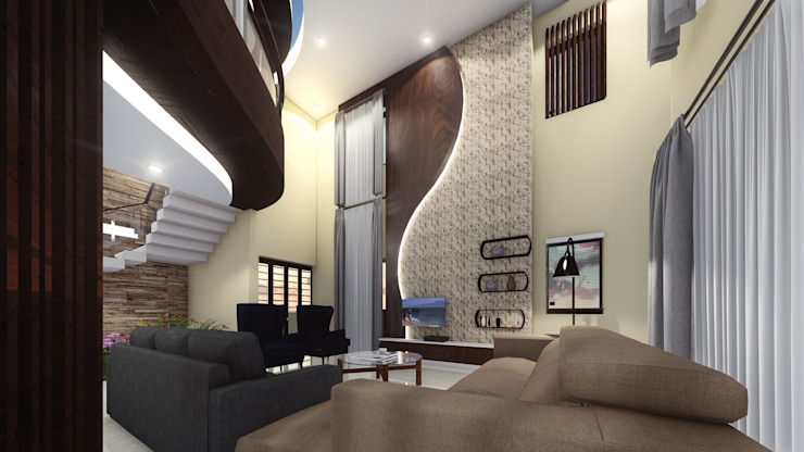 Living_TV Unit: asian  by Cfolios Design And Construction Solutions Pvt Ltd,Asian Wood Wood effect