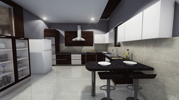 Modern Kitchen: asian  by Cfolios Design And Construction Solutions Pvt Ltd,Asian Synthetic Brown
