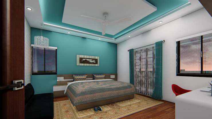 Guest Bedroom : asian  by Cfolios Design And Construction Solutions Pvt Ltd,Asian Wood Wood effect