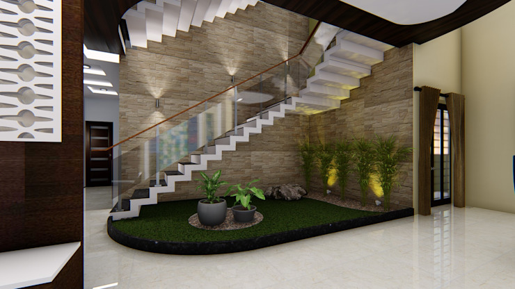 Indoor Garden_Staircase: asian  by Cfolios Design And Construction Solutions Pvt Ltd,Asian Glass