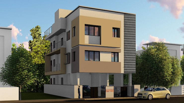 Building 3D Elevation by Cfolios Design And Construction Solutions Pvt Ltd Modern