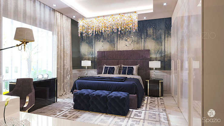 Modern bedroom interior design for couple Eclectic style bedroom by Spazio Interior Decoration LLC Eclectic