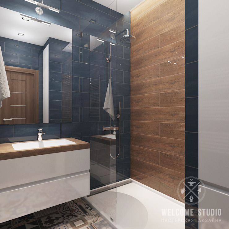 Двухуровневая квартира в г. Калуга Ванная комната в стиле минимализм от Мастерская дизайна Welcome Studio Минимализм