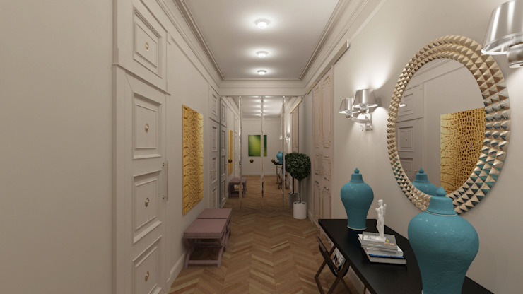 Квартира для джетсеттера Коридор, прихожая и лестница в эклектичном стиле от Spacelab Design Эклектичный