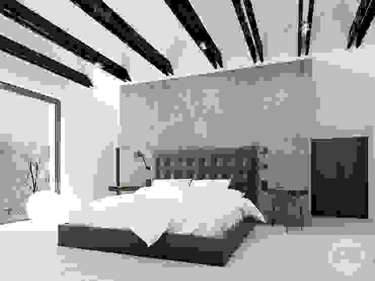 365 Stopni Industrial style bedroom Concrete Grey