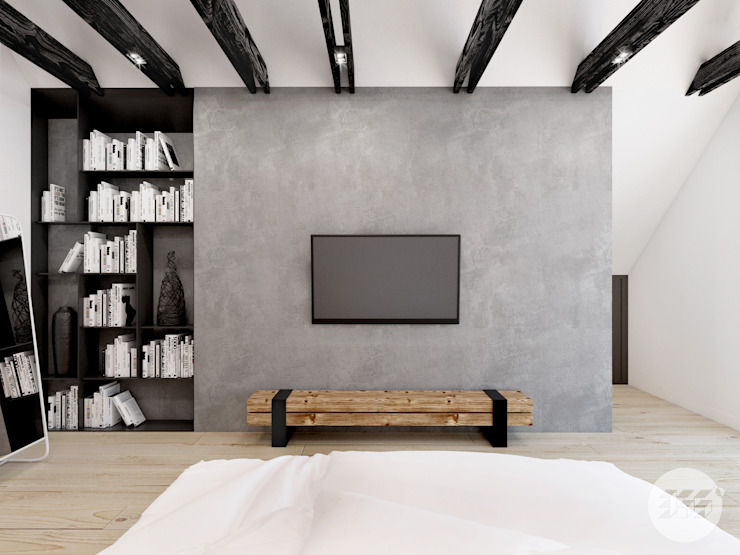 365 Stopni Industrial style bedroom Wood Grey