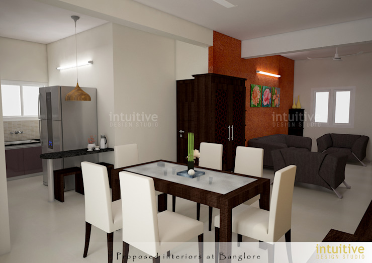 View of the Living and Dining: modern  by INTUITIVE DESIGN STUDIO,Modern