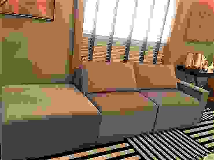 Sofá Módulo Promoção por Sgabello Interiores Moderno Algodão Vermelho