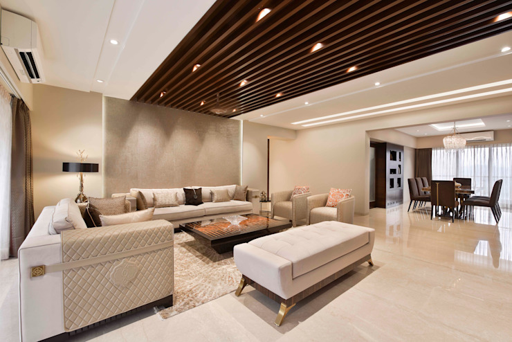 The Warm Bliss Milind Pai - Architects & Interior Designers Minimalist living room Marble Brown