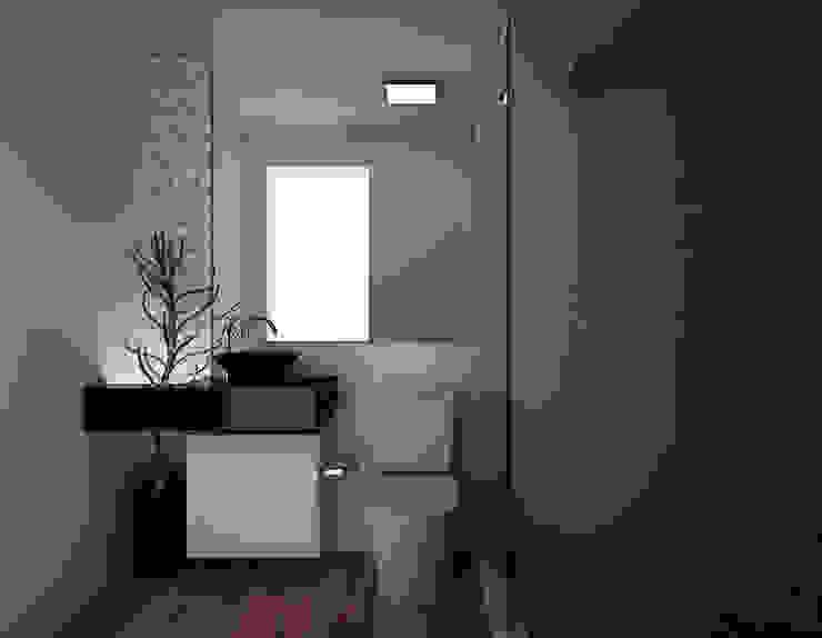 Banheiro Social Area 3 Arquitetura Banheiros modernos Efeito de madeira