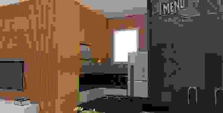 Arquiteto Virtual - Projetos On lIne Cocinas de estilo moderno Tablero DM Naranja