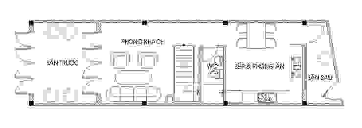 Bản vẽ mặt bằng tầng 1 bởi Công ty TNHH TK XD Song Phát Châu Á Đồng / Đồng / Đồng thau