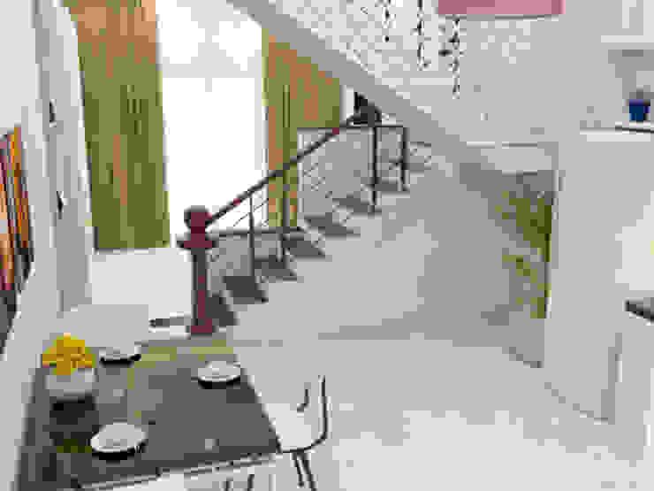 Xây nhà 2 tầng thiết kế 3 phòng ngủ rộng thoáng chỉ với 680 triệu Phòng ăn phong cách hiện đại bởi Công ty TNHH Xây Dựng TM – DV Song Phát Hiện đại