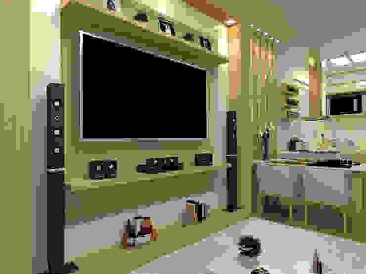 Vista da Sala de Estar Integrada Laene Carvalho Arquitetura e Interiores Salas de estar clássicas Efeito de madeira