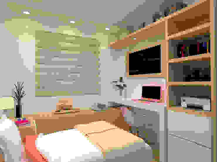 Vista 2 do quarto feminino Laene Carvalho Arquitetura e Interiores Quartos clássicos Efeito de madeira