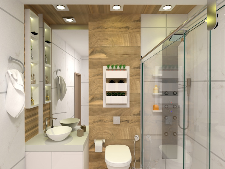 Banheiro Laene Carvalho Arquitetura e Interiores Banheiros clássicos Efeito de madeira