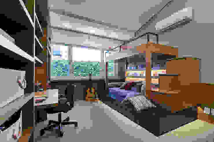projeto dormitório menino ABHP ARQUITETURA Quartos dos meninos Madeira Azul