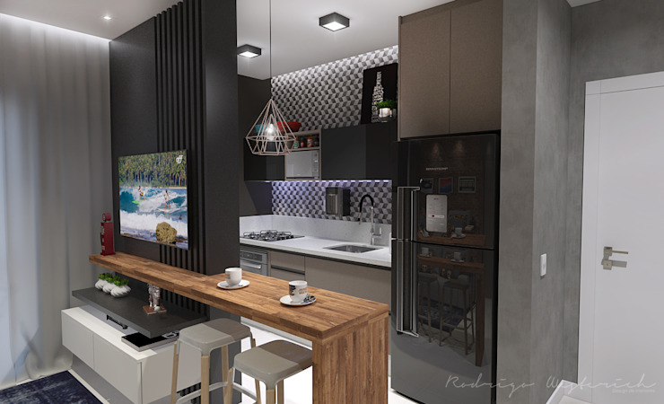 Studio Rodrigo Westerich - Design de Interiores Armários e bancadas de cozinha Madeira
