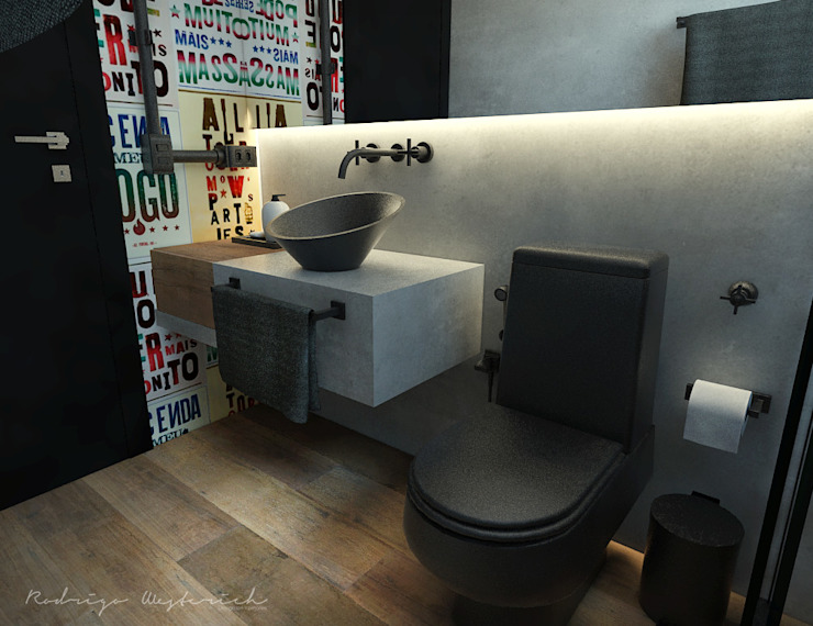 Industrial style bathrooms by Rodrigo Westerich - Design de Interiores Industrial Concrete