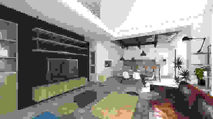 Vue sur séjour. Double hauteur avec mise en place d'un filet d'habitation. Salon original par Lionel CERTIER - Architecture d'intérieur Éclectique