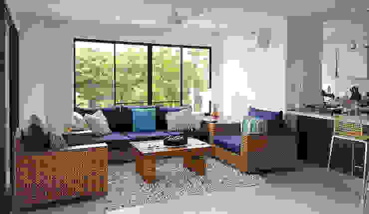Vista del salón principal Salas de estilo tropical de Remodelar Proyectos Integrales Tropical Madera Acabado en madera