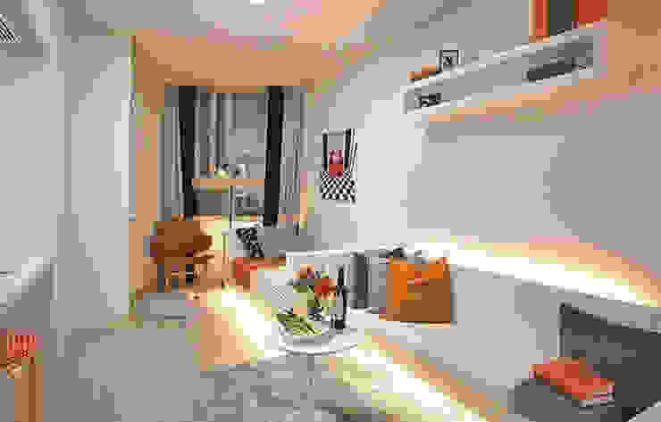 안산 센터하임 오피스텔 모델하우스 / D1-Type 모던스타일 거실 by 에이프릴디아 모던