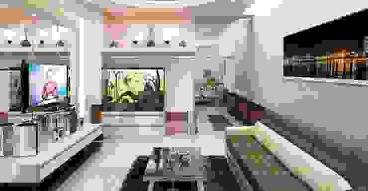 Phòng khách rộng thoáng Phòng khách phong cách châu Á bởi Công ty TNHH TK XD Song Phát Châu Á Đồng / Đồng / Đồng thau