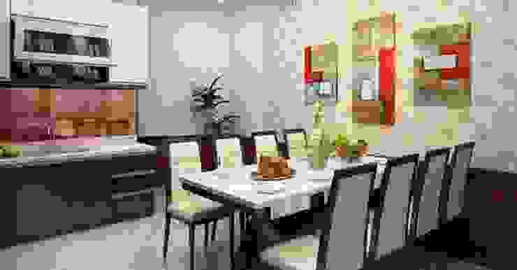 Bộ bàn ăn lớn phục vụ được nhiều người Phòng ăn phong cách châu Á bởi Công ty TNHH TK XD Song Phát Châu Á Đồng / Đồng / Đồng thau