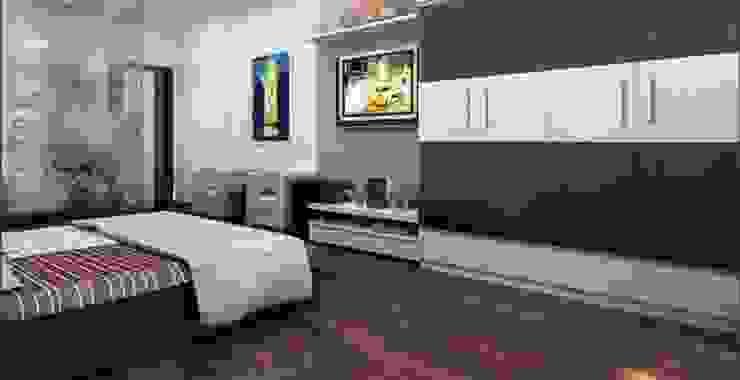 Sàn gỗ tạo sự ấm áp cho phòng ngủ Phòng ngủ phong cách châu Á bởi Công ty TNHH TK XD Song Phát Châu Á Đồng / Đồng / Đồng thau