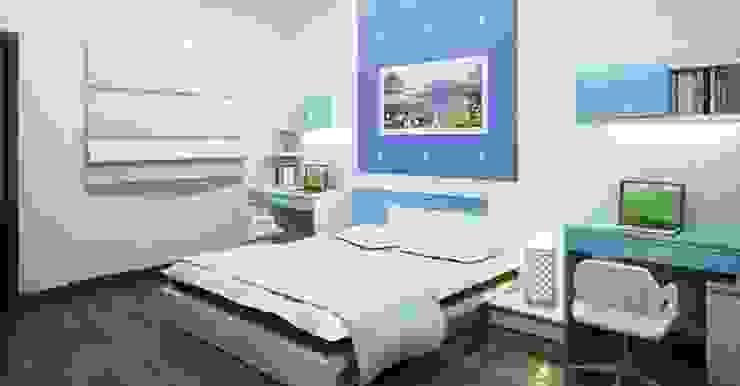Gam màu xanh - trắng chủ đạo làm nổi bật căn phòng:  Phòng ngủ by Công ty TNHH TK XD Song Phát