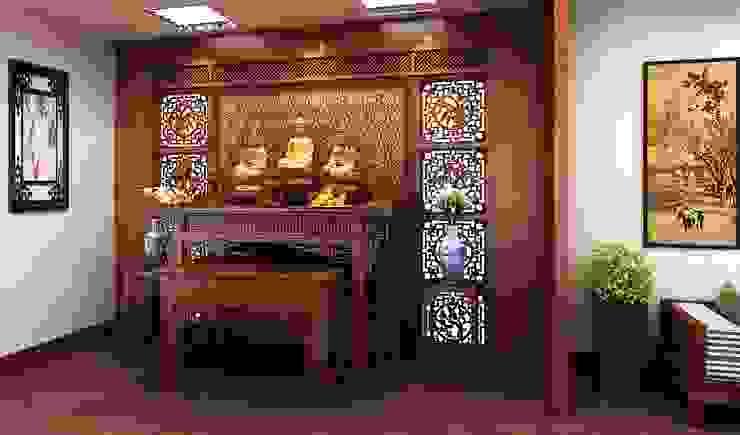 Phòng thờ yên tĩnh, thiêng liêng bởi Công ty TNHH TK XD Song Phát Châu Á Đồng / Đồng / Đồng thau