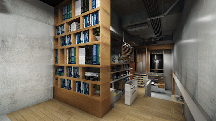 Bookstore Area Kantor & Toko Gaya Industrial Oleh ARAT Design Industrial