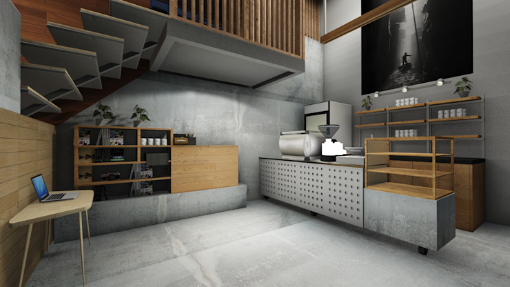 Cafe Bar Area Kantor & Toko Gaya Industrial Oleh ARAT Design Industrial