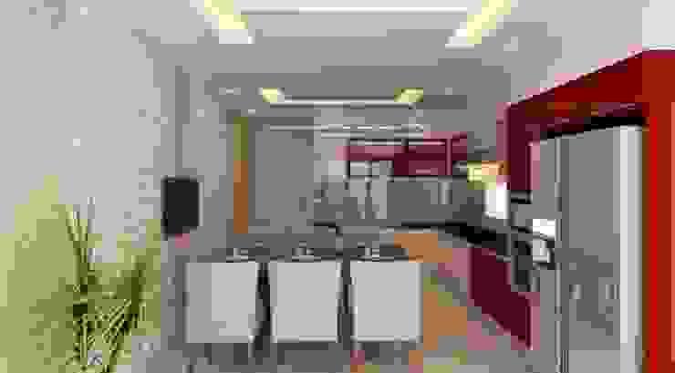 Khu vực phòng khách – bếp – phòng ăn Phòng ăn phong cách hiện đại bởi Công ty TNHH Xây Dựng TM – DV Song Phát Hiện đại