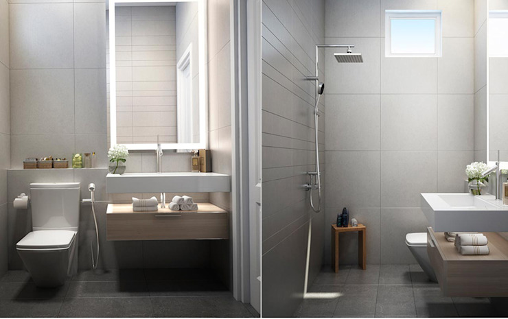 Thiết Kế Nội Thất Nhà Phố Đẹp Cho Ngôi Nhà Thêm Ấn Tượng Phòng tắm phong cách hiện đại bởi Công ty TNHH Xây Dựng TM – DV Song Phát Hiện đại