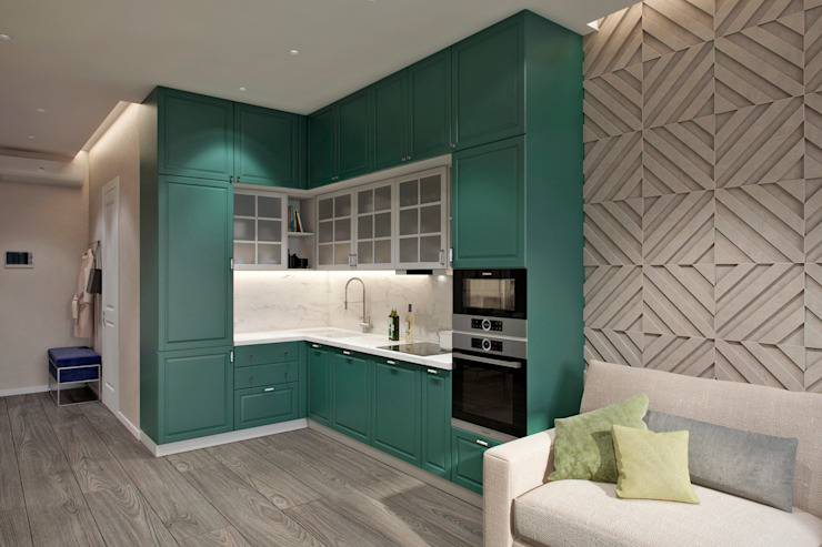 Студия архитектуры и дизайна Дарьи Ельниковой Nhà bếp phong cách tối giản