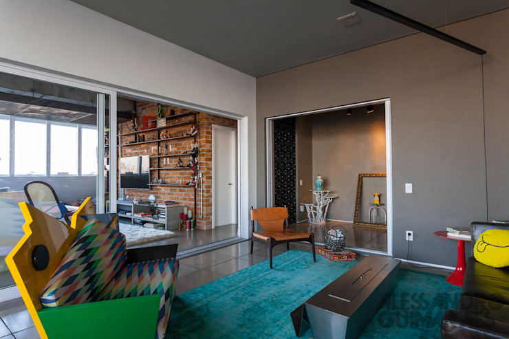 Apto 360 Salas de estar industriais por Nautilo Arquitetura & Gerenciamento Industrial