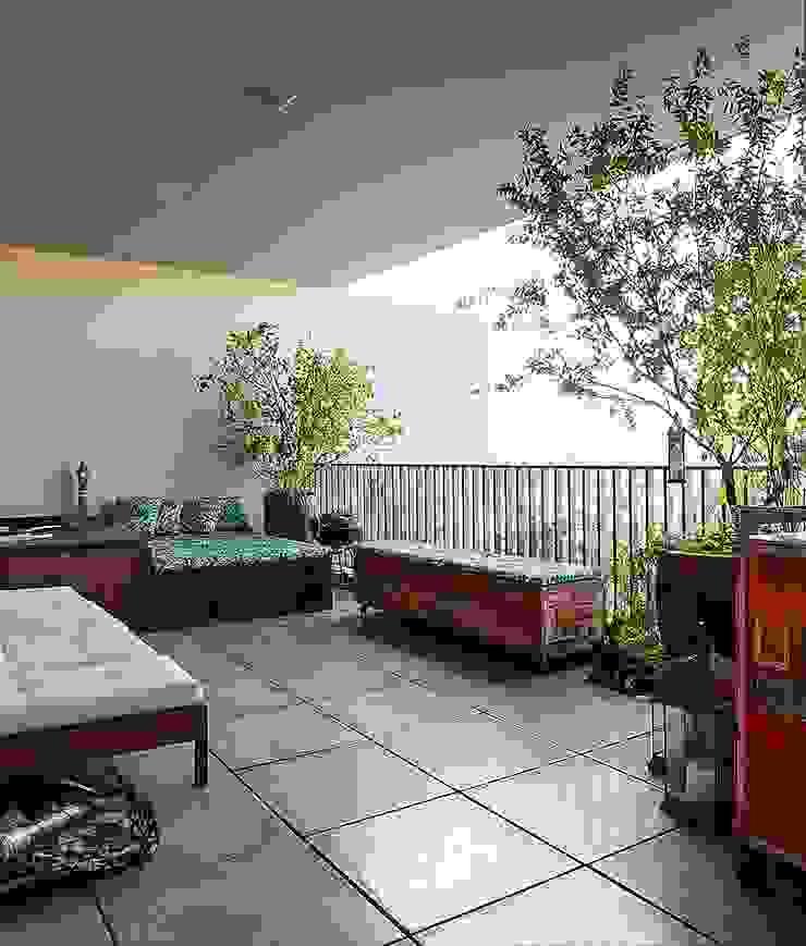 Balcones y terrazas de estilo industrial de Nautilo Arquitetura & Gerenciamento Industrial Derivados de madera Transparente