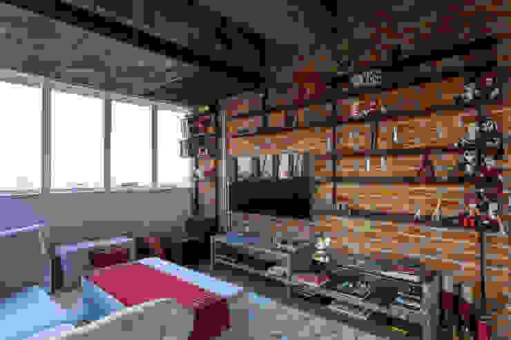 Apto 360 Salas de estar industriais por Nautilo Arquitetura & Gerenciamento Industrial Tijolo