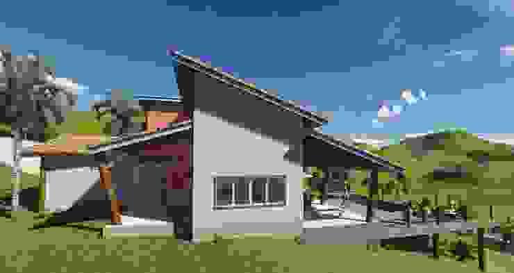 Fachada lateral AT arquitetos Casas campestres