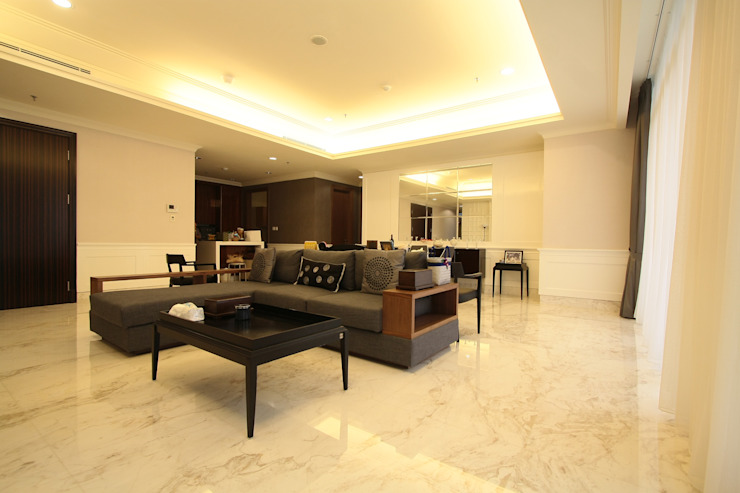 Apartemen Oleh Exxo interior Klasik Kayu Wood effect