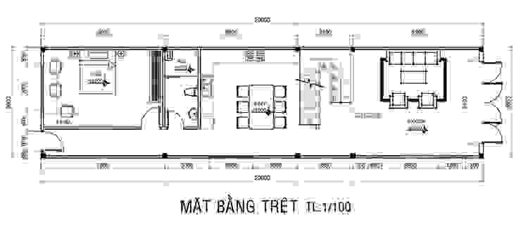 Mặt bằng tầng trệt nhà phố 2 tầng. Nhà phong cách châu Á bởi Công ty TNHH TK XD Song Phát Châu Á Đồng / Đồng / Đồng thau
