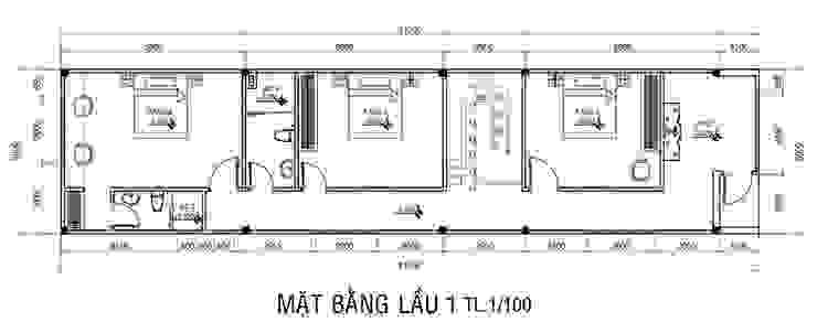 Mặt bằng tầng 2 nhà phố 2 tầng. bởi Công ty TNHH TK XD Song Phát Châu Á Đồng / Đồng / Đồng thau