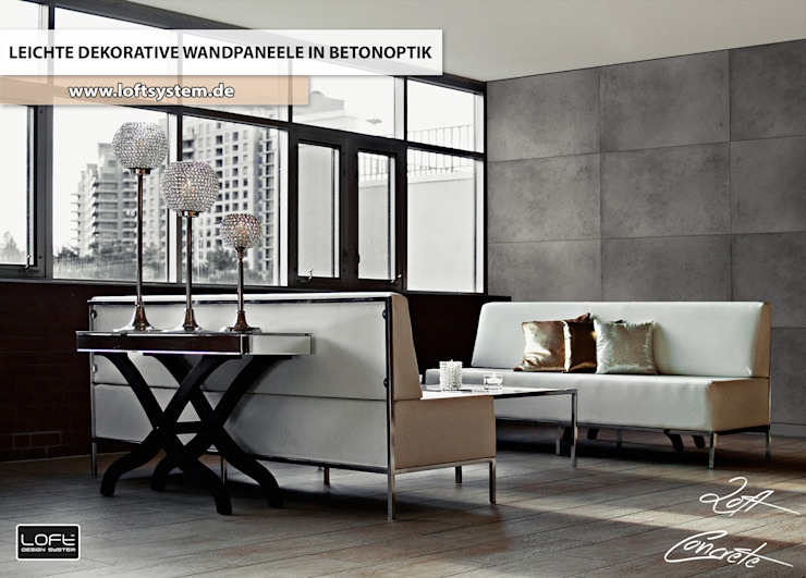 Projekty,  Salon zaprojektowane przez Loft Design System Deutschland - Wandpaneele aus Bayern,
