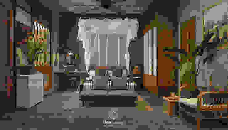 Cảm xúc Á Đông - Nhà phố Sài Gòn Phòng ngủ phong cách châu Á bởi LEAF Design Châu Á
