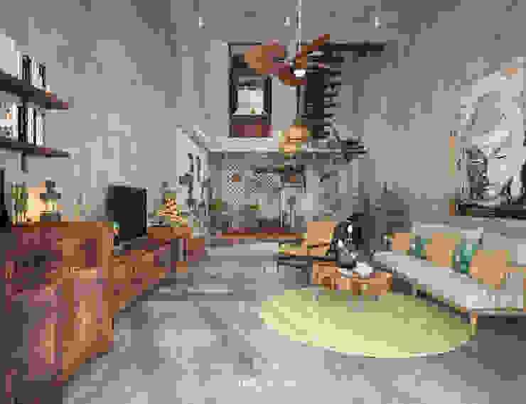 Cảm xúc Á Đông - Nhà phố Sài Gòn LEAF Design Phòng khách phong cách châu Á