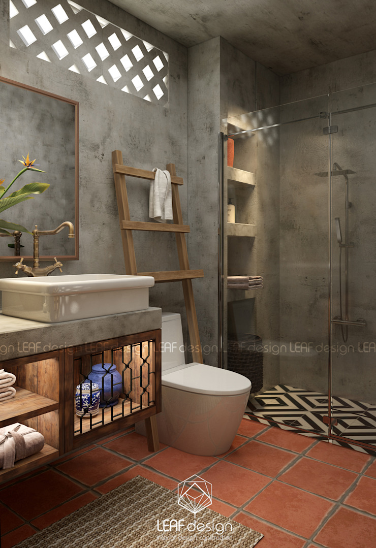 Cảm xúc Á Đông – Nhà phố Sài Gòn Phòng tắm phong cách châu Á bởi LEAF Design Châu Á