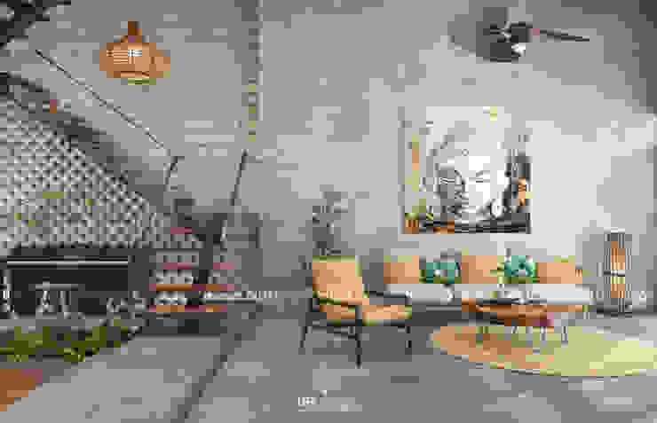 Cảm xúc Á Đông – Nhà phố Sài Gòn Phòng khách phong cách châu Á bởi LEAF Design Châu Á